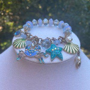 BETSY JOHNSON Crab Seashell Blue Stretch BRACELET